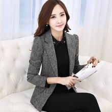 3a37963e08f Grey Slim Blazer Female Suit Jacket Casual Women Blazer Elegant Fashion  Terno Feminino Office Wear Ladies Work Uniforms KC5C074
