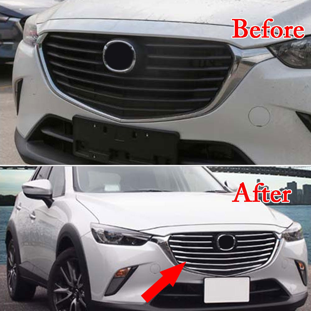 10pcs/set Chrome ABS Car Front Middle Grill Grille Strip Cover Trim Decal For Mazda CX-3 2016-2018 Car Styling Accessories Cover for toyota corolla altis 2014 2015 2016 car body styling cover detector abs chrome trim front up grid grill grille hoods 1pcs