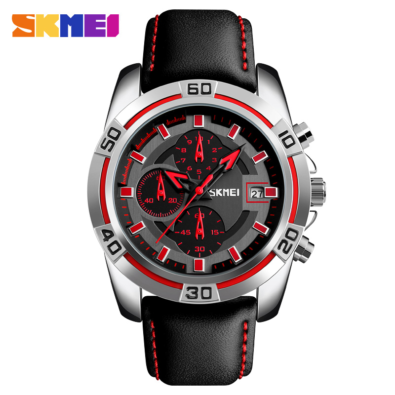 Fashion Style SKMEI Mens Watches Top Brand Luxury Leather Quartz-watch Chronograph Sport Men Wrist Watch Clock Man reloj hombre fashion style dom mens watches top brand luxury stainless steel quartz watch chronograph luminous men wrist watch reloj hombre