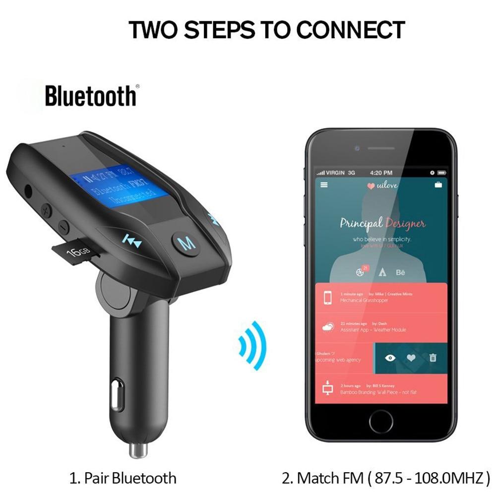 willtoo 120 Adjust angles Car Kit Handsfree Wireless Bluetooth FM Transmitter MP3 Player USB LCD Modulator Supports MP3/WMA/WAV