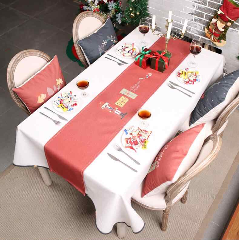 Cartoon Xmas Christmas Tablecloth Table Cover Santa Claus Festival Decor