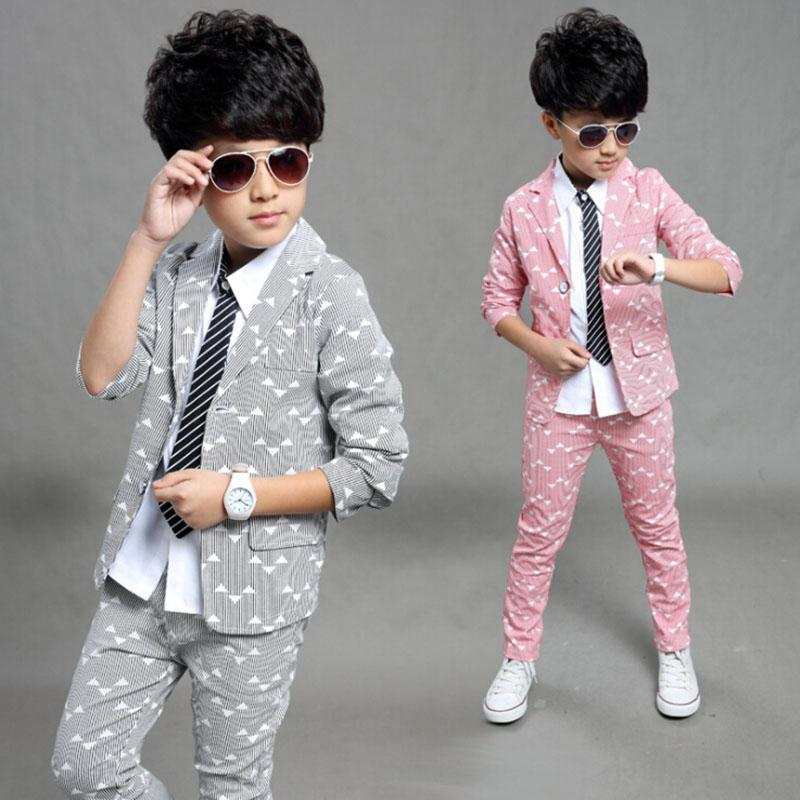 Boys Suits 2017 Spring Autumn New Style Children Kids Wedding Clothes 2 Pieces Sets Pink Grey Blue Fashion Outfits