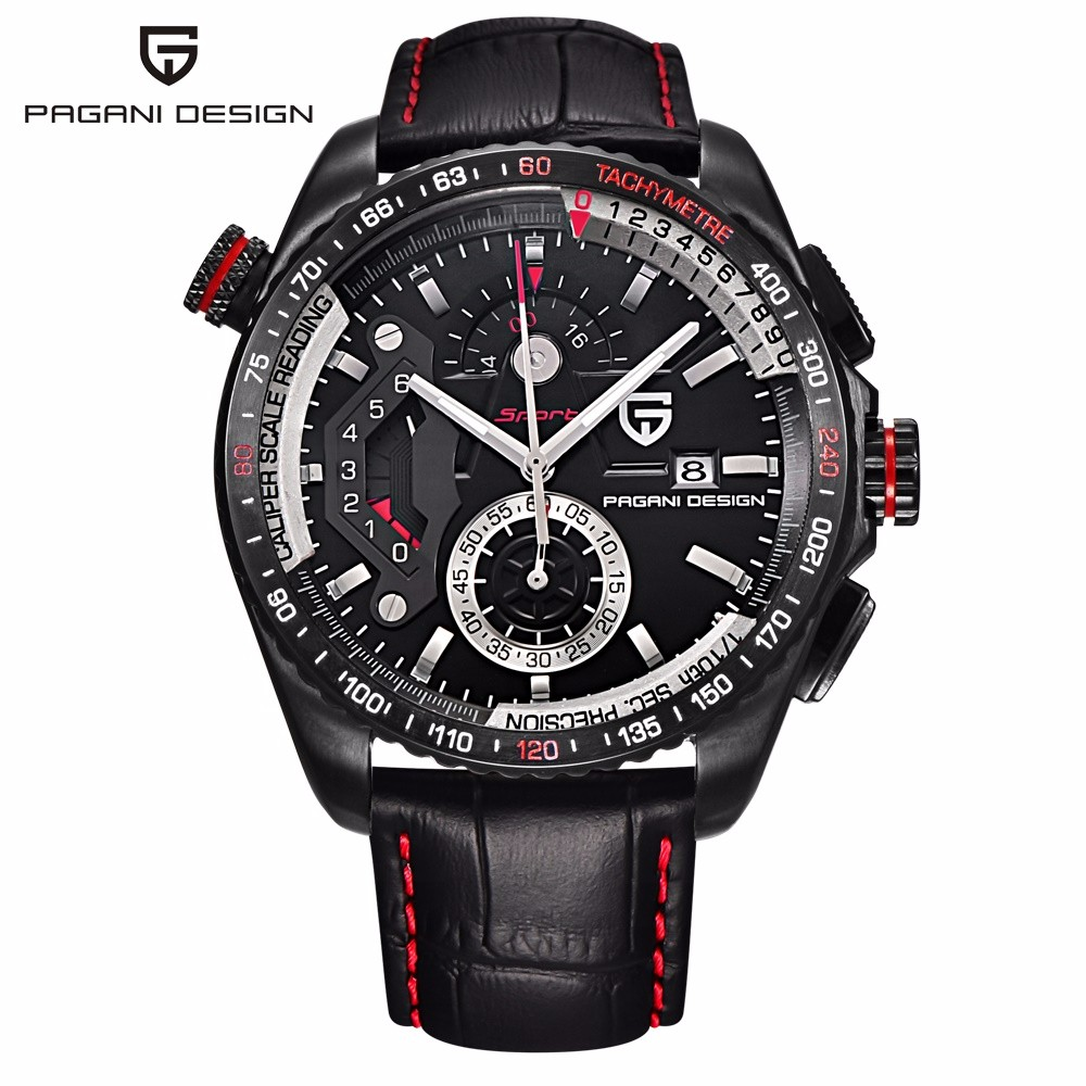 Original PAGANI DESIGN chronographe Sport montres japon mouvement boîte en acier inoxydable étanche montres à Quartz Relogio Masculino