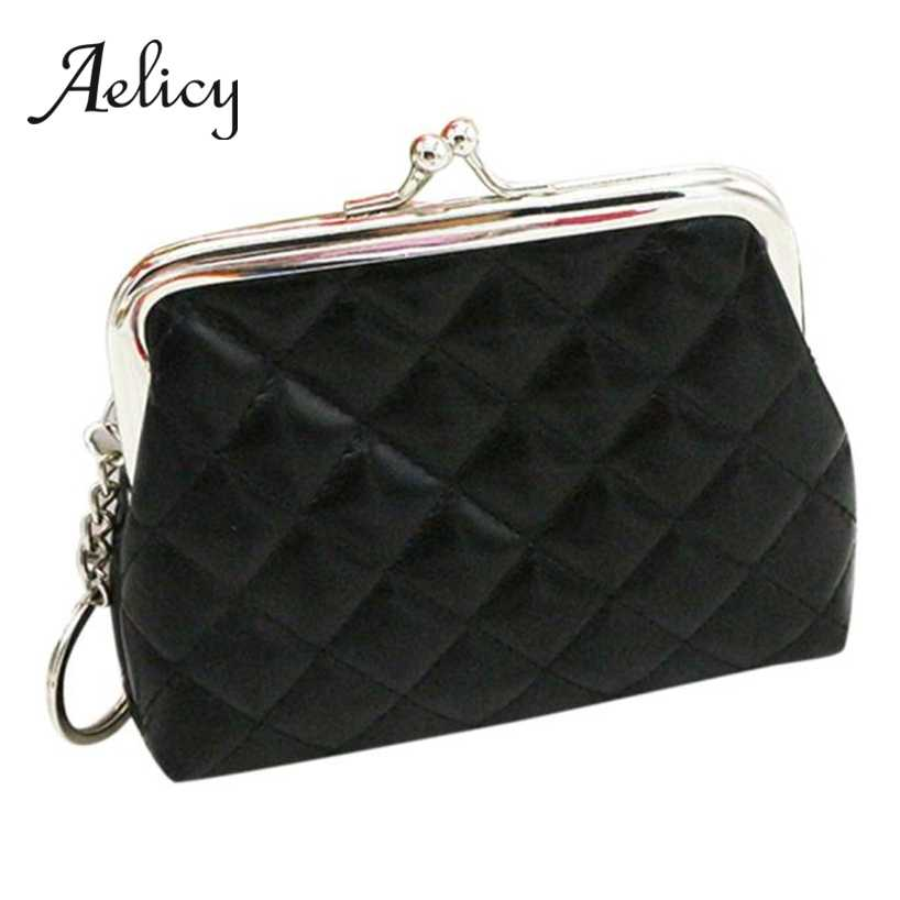 Aelicy Women Girls Lingge Leather Coin Purse High Quality Mini Hasp Small Square Clutch Wallet Key Holder Storage Bag