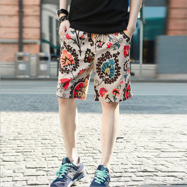 HanHent Fashion New Design Linen Bohemian Shorts Men Summer Chinese Style Beach Casual Streetwear Board