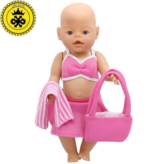 386f1a28f5 43 cm Baby Puppe Kleidung Rosa Strand Kleid Anzug + Schal + Tasche Baby  Puppe Zubehör