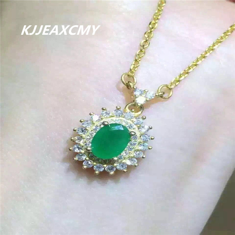 KJJEAXCMY boutique jewelry,S925 Sterling Silver Necklace, natural emerald female pendant, fashion clavicle chain silver wholesal equte psiw3coot1 s925 sterling silver necklace cat s eye axe pendant chain white silver 16