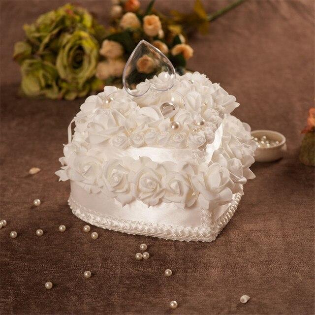 Wedding ring kussen sets luxe en elegante dubbellaags ring kussen doos rose hart ontwerp witte ring kussen decoratie