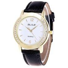 Fabulous Unisex de Quartzo Diamante Relógio de Pulso Analógico de Couro Simples Caixa Redonda Relógio reloj hombre bayan kol saati Moda horloge