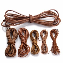 LOULEUR 5meter/lot 1.5 2 2.5 3 4 mm Genuine Cow Leather Cord for Bracelet Vintage Brown Round Rope String Jewelry