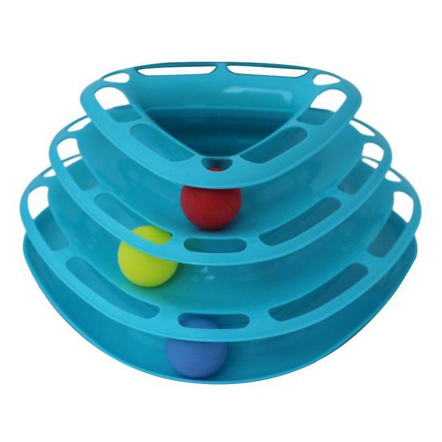 Kreatívna a zábavná hračka pre mačky – farba oranžová, zelená, trojitý disk s guľôčkami