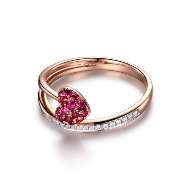 Myray 14k Rose Yellow White Gold Natural Round Ruby Diamonds Heart Shaped Wedding Band Engagement Anniversary