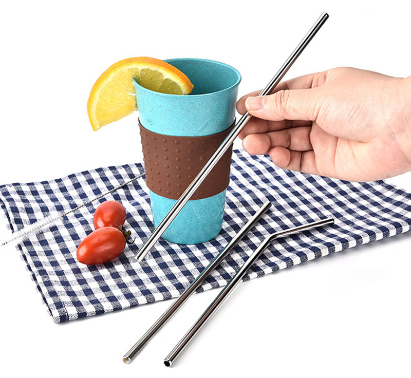100pcs 8 5 inch Reusable Bent and Straight Stainless Steel Straws Metal Drinking Straw for 20oz
