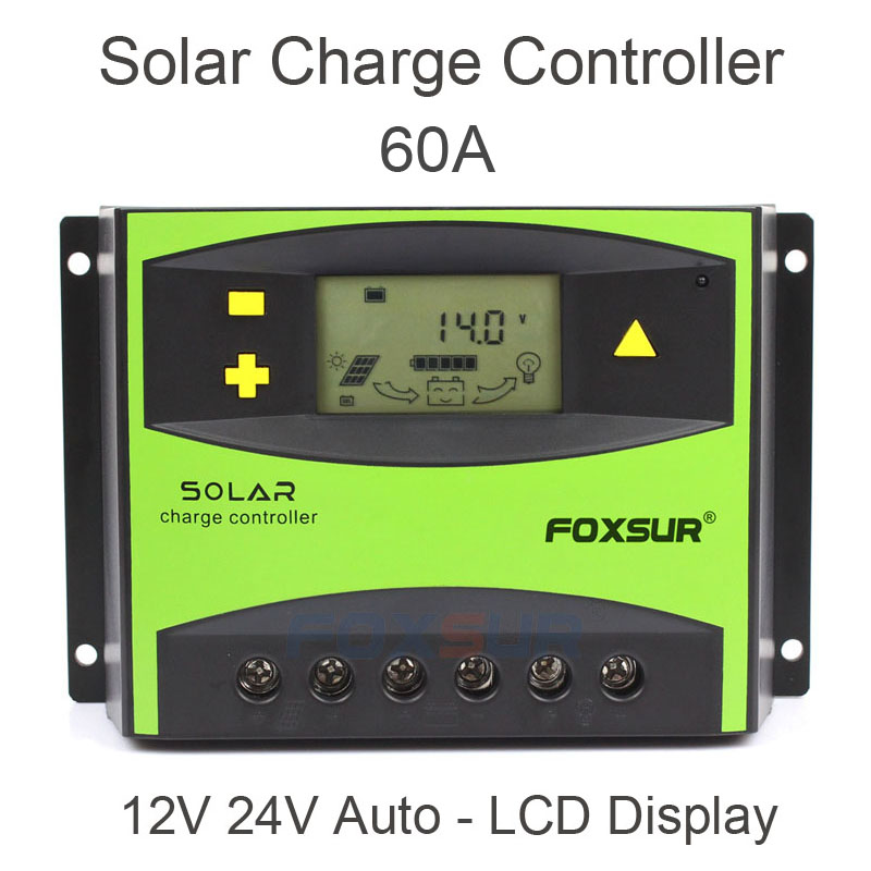 цена на FOXSUR PV Solar Charge Controller 50A 60A PWM 12V 24V Auto Solar Panel Charging Discharge Regulator with Large Power Heat sink
