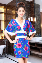 Nightclub Women Japanese kimono skirt new night temperament small floral bath technician service sexy massage(China)