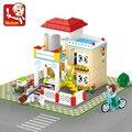 Sluban 380 unids serie de la princesa rosa sueño villa sweet home diy juguetes educativos minis compatible con leping diy
