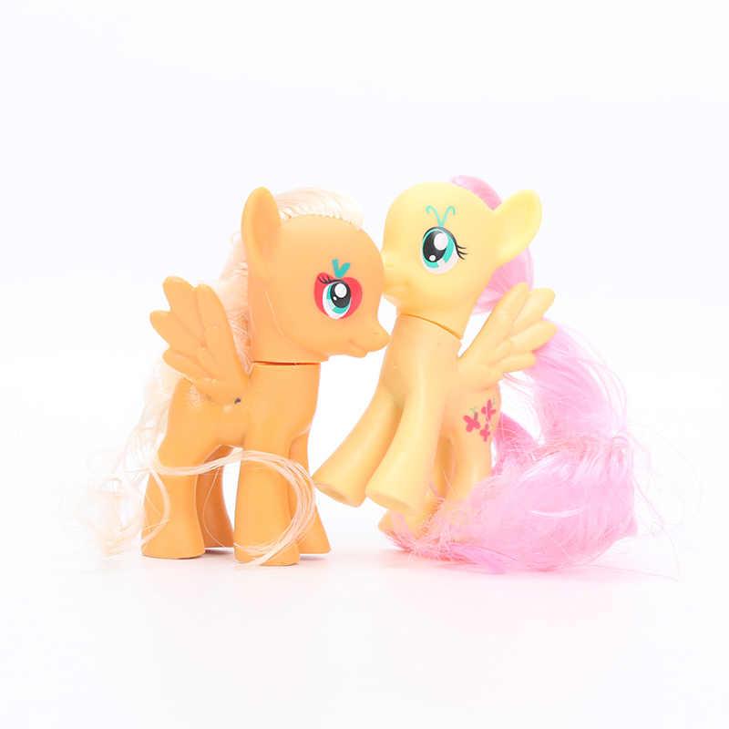 Pacote de 6 My Little Pony Set Brinquedos Friendship Is Magic Rainbow Dash Pinkie Pie Raridade Twilight Sparkle Ação PVC figuras Bonecas