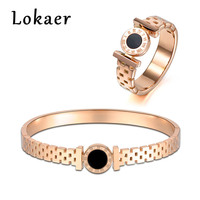 Lokaer New Design Roman Numerals Rings Bangles Sets Women Jewelry Rose Gold Color Stainless Steel Engagement