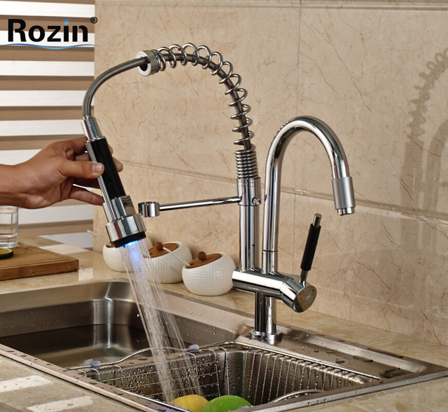 Single Handle RGB Color Changing Kitchen Mixer Faucet Two Rotation Spout  Hot Cold Water Kitchen Taps