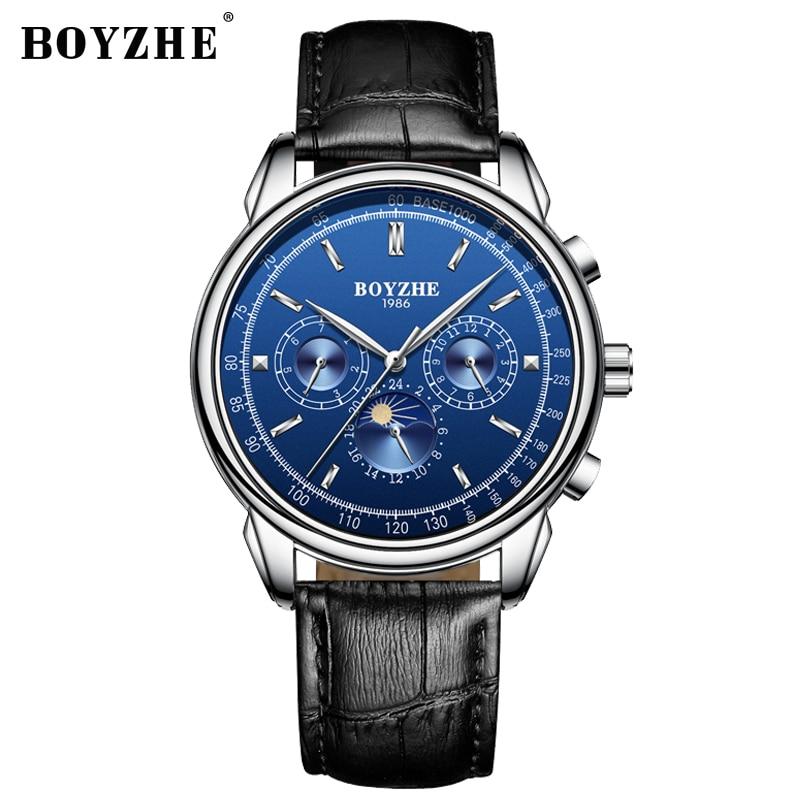 BOYZHE mężczyźni zegarek wodoodporny Top marka zegarki mechaniczne skórzany pasek mody zegarek fazy księżyca wyposażone są w Business Watch człowiek w Zegarki mechaniczne od Zegarki na  Grupa 2
