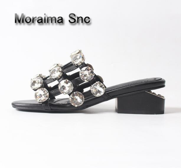 Moraima Snc Rhinestone high heels shoes women summer women slippers white crystal women shoes sexy cut-out Casual ladies shoes moraima snc barnd design black white shoes summer women slippers pearl string bead sandalias mujer flats home slippers females