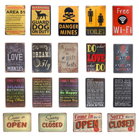 Toilet Open Closed wifi Metal Tin sign Vintage Plate Garage Pub Bar Restaurant Coffee Cafe Wall Decor