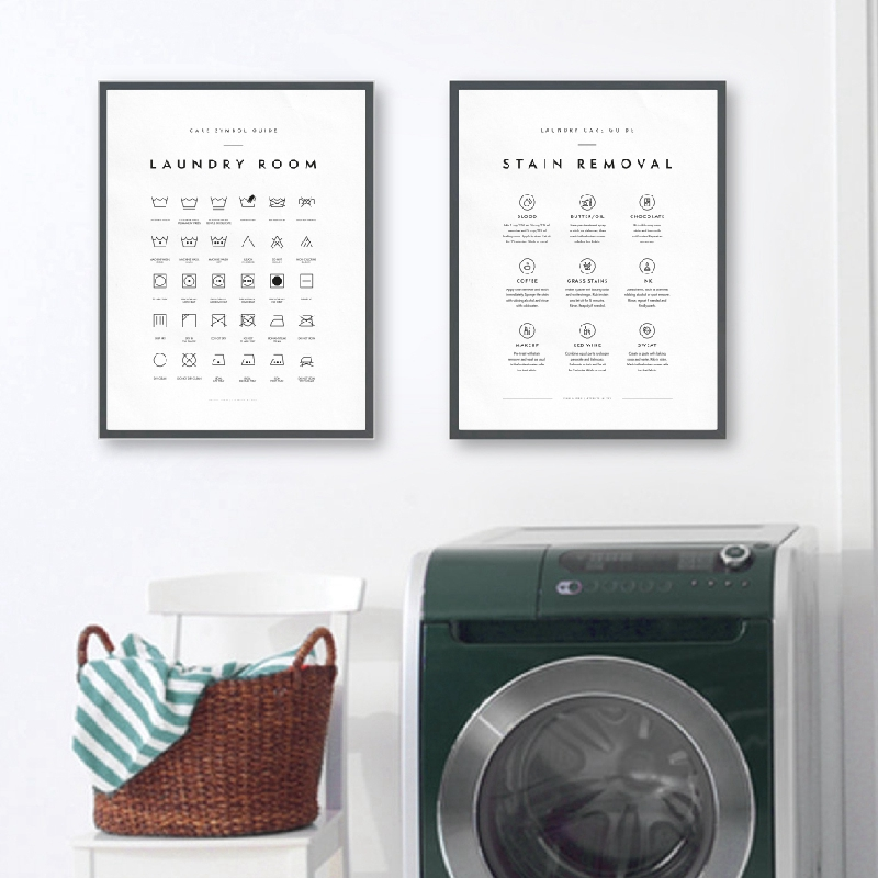 Laundry Symbols Guide Canvas Art Posters And Prints Laundry Care Wall Art Canvas Painting Picture Laundry Room Art Wall Decor