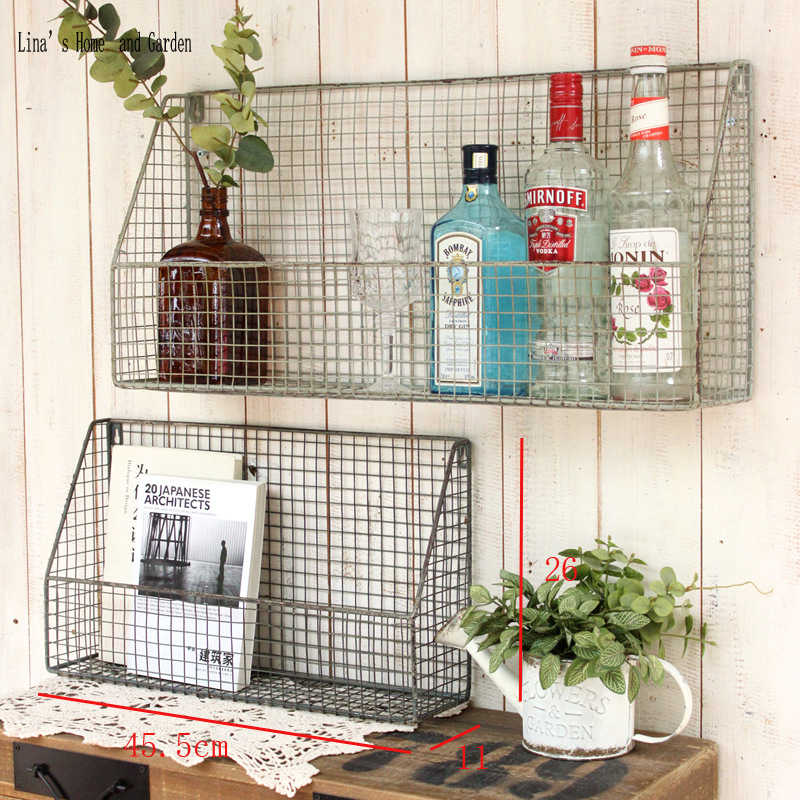 industrial small shabby rustic handcrafted storage rack metal wire basket display rack