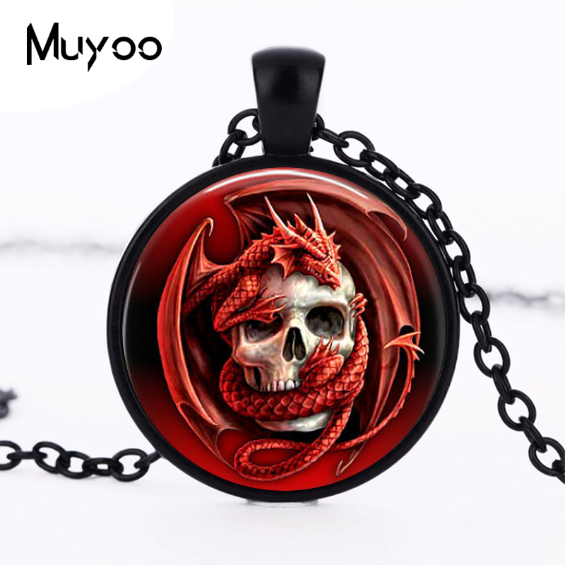 Dragon Skull Pendant Charm Glass Cabochon Ancient Bronze Plated Necklace Gothic Biker Jewelry HZ1