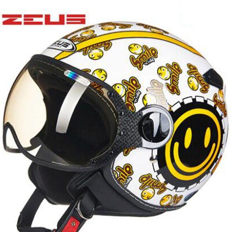Lumineux blanc sourire ZEUS 210C 3/4 Open face moto rcycle casque Chopper Rétro Casque moto Casque Casco moto cicleta Capacete