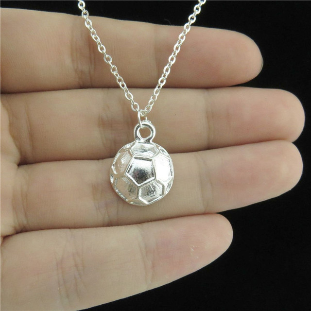 Bright Silver Football Soccer Pendant Necklace