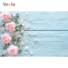 Yeele Blue Wooden Board Planks Fresh Flowers Portrait Photography Backgrounds Customized Photographic Backdrops for Photo Studio yeele rose flower simple wooden board texture planks goods show photography backgrounds photographic backdrops for photo studio