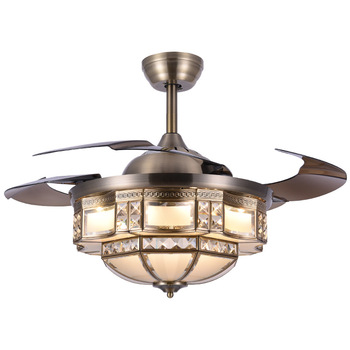 Retro Ceiling Fans | LED Copper Invisible Fan Light Ceiling Fan With Light Restaurant Bedroom 52 Inch Fan Light Living Room Retro Ceiling Fan