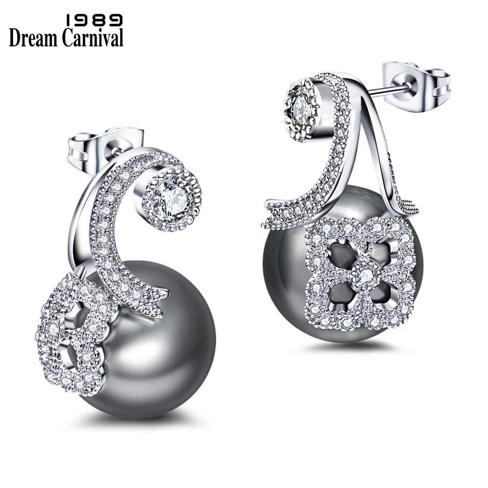 DreamCarnival 1989 Unique Design Synthetic Grey Pearl White Cubic Zircon Wholesales Discount Pendientes Drop Earrings WE3725