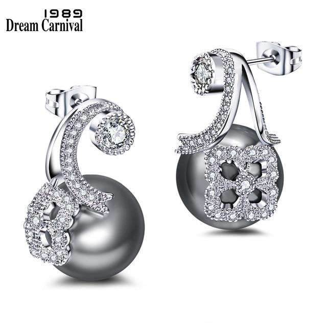DreamCarnival 1989 Unique Design Synthetic Grey Pearl White Cubic Zircon Wholesales Discount Pendientes Drop Earrings WE3725