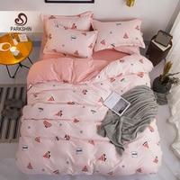 ParkShin Cartoon Bedding Set Adult Double Bedspread Pink Big Bed Flat Sheet Single Bed 150 Comforter Nordic Euro Duvet Cover Set
