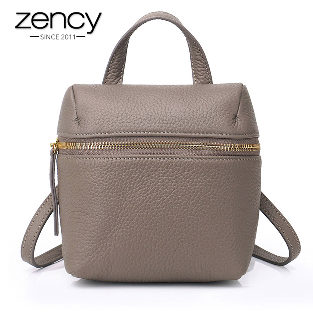 Zency Simple Women Backpack 100 Natural Leather Preppy Style Student s Schoolbag Black Fashion Travel Bag