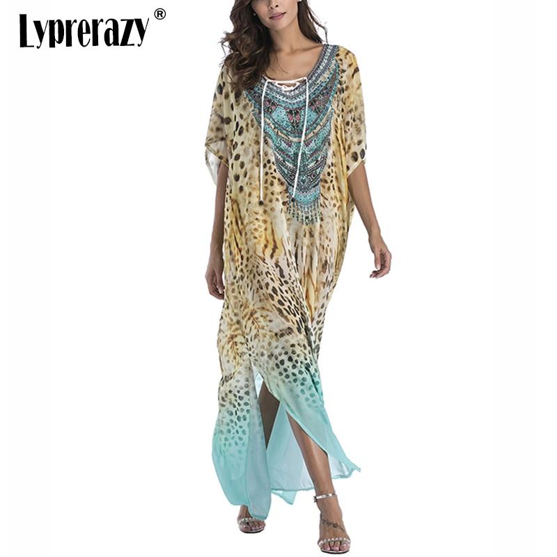 Lyprerazy Beach Sarongs Large Size Robes Women Dress Chiffon Boho Leopard Summer Sundress Print Bohemian Long Maxi Dress
