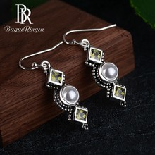 Begua Ringen Classic Bohemia Pearl Drop Earrings for Women 925 Silver Fashion Jewelry Wedding Anniversary Party Gifts