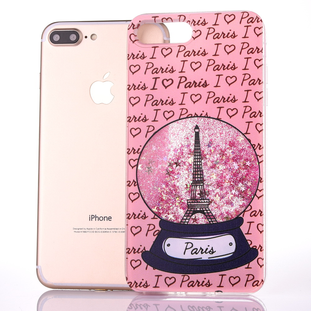 Dynamic Liquid Stars Cases For Iphone XS XR XS Max X 8 7 6 6S Plus Soft TPU Crystal Paris Tower Letter Back Cover Coque