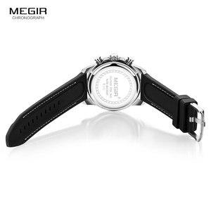Image 5 - MEGIR צבא ספורט קוורץ שעונים גברים הכרונוגרף סיליקון רצועת שעוני יד יוקרה למעלה מותג Relogios Mascuoino שעון 2101 כסף