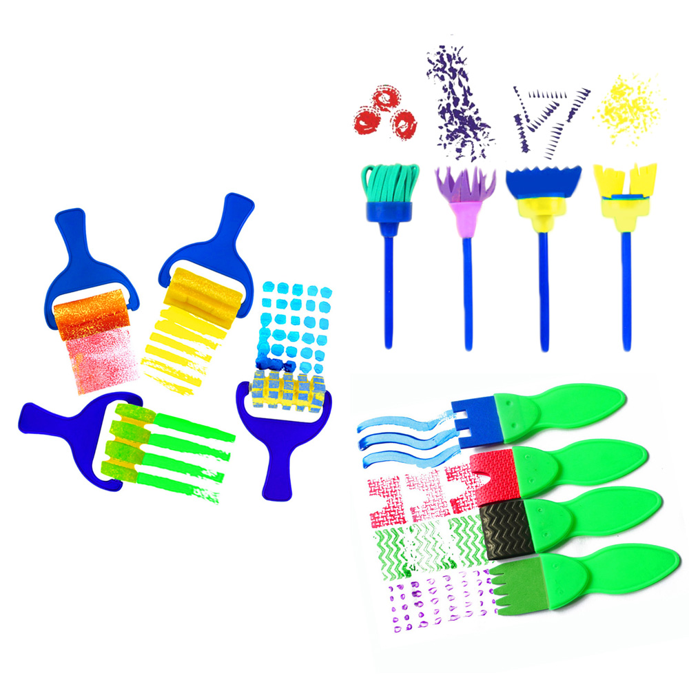 12PCS Kids Children Art Early Learning Painting Mini Flower Sponge Brushes DIY Crafts Drawing Tools Set