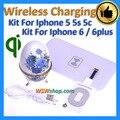 Alta qualidade qi sem fio do carregador kit para iphone 5 5s 5c qi carregador de carregamento sem fio para iphone 6 6 plus transmissor + receptor