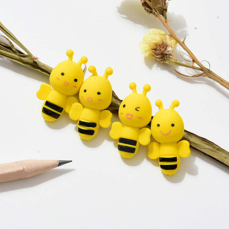 4Pcs/Lot Cute Cartoon Insect Little Yellow Bee Erasers Rubber Pencil Erasers School Office Supply Student Stationery Gift