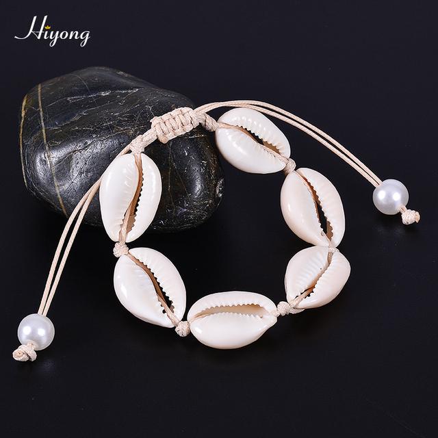 HIYONG cauri natural pulsera hecha a mano ajustable Boho concha de mar/tobillera playa joyería regalos para mujeres niñas