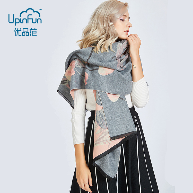 12 Color Fashion Tulip Flower Thick Warm Shawl for Ladies Double-sided Use Autumn Winter Imitation Cashmere Scarves Women 2018