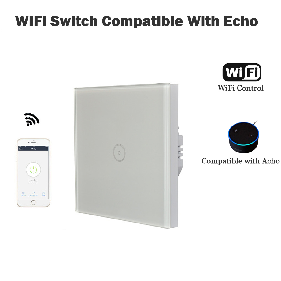 EU 1 Gang Wall Switch Compatible with Acho WiFi smart remote control Light Switch panel smart mobile control via APP Panel turn sonoff touch wall wifi light switch us eu intelligent glass panel smart home wireless remote switch control via by phone