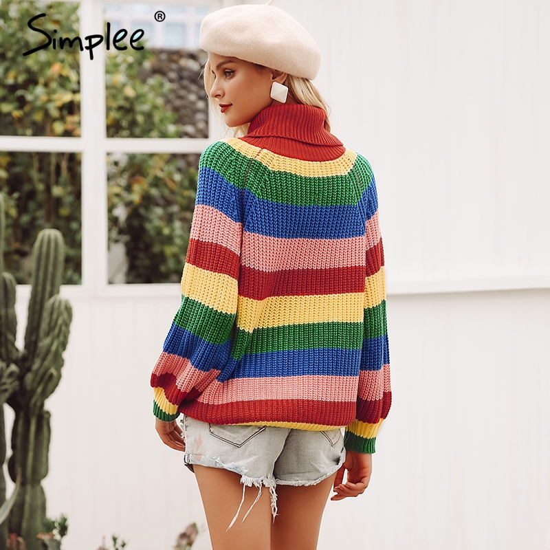 Women's Clothing Sweaters Turtleneck Sweater Women Autumn Winter Long Sleeve Sweater 2018 Striped Multicolor Casual Pullover Lace Up Knitted Sweater Tunic Elegant In Style
