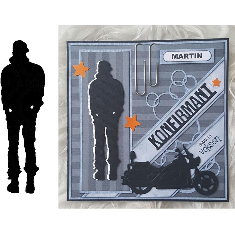 Dies for Card Making Man Figure Shadow Cutting Dies DIY Scrapbook Paper Cards Craft Punch Stencil Silver
