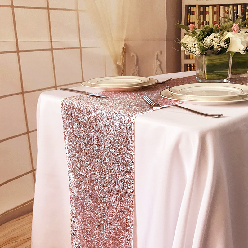 1 ピース 30 × 275 センチメートル 30 × 180  センチメートルゴールドローズゴールドシルバースパンコールテーブルランナーパーティーテーブル布結婚式装飾テーブルランナー     グループ上の ホーム